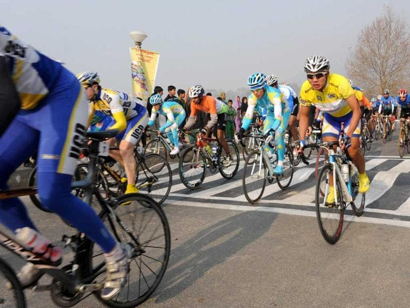 A peloton of riders cycle during the second leg of the Tour de India cycling race in Srinagar. It is the first ever international cycling race held in India. AFP
