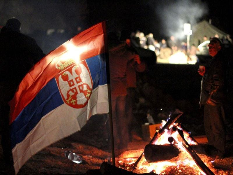 Local Serbs block access to border crossing in Jarinje on Kosovo-Serbia border to protest against the implementation of an agreement on an integrated crossing management. AP/Zveki