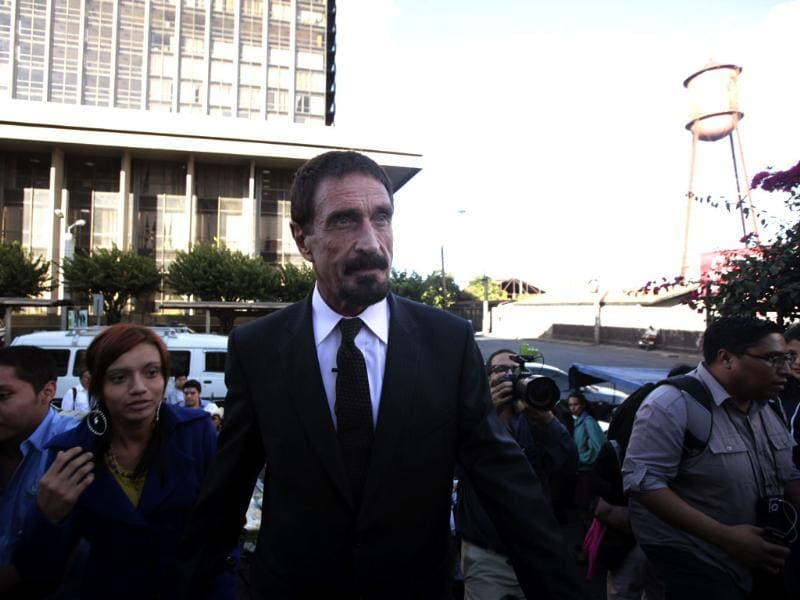 John Mcafee, anti-virus software guru, arrives for a news conference outside of the Supreme Court of Justice in Guatemala City. Reuters/William Gularte