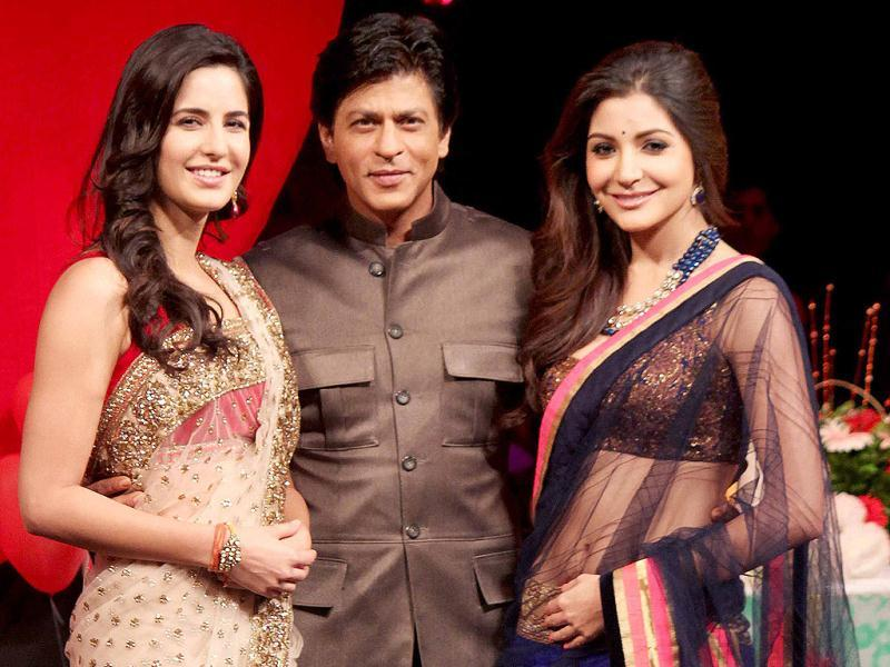Katrina Kaif poses with Shah Rukh Khan and Anushka Sharma at a recent event where she promoted Jab Tak Hai Jaan.
