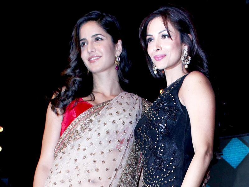 Katrina Kaif seen here in a contrary image, the actress is wearing a creme sari at an event to promote her recent film Jab Tak Hai Jaan.