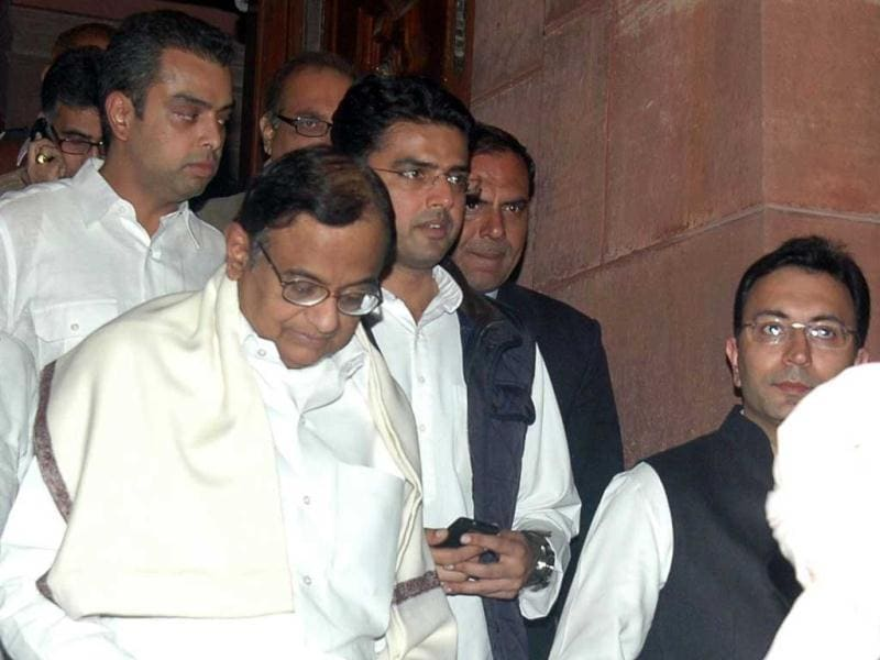 Union ministers P Chidambaram, Jitin Prasad, Sachin Pilot and Milind Deora exit Parliament after voting on FDI, in Lok Sabha. (Agencies)
