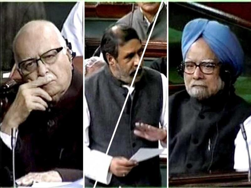Prime Minister Manmohan Singh and senior BJP leader LK Advani listen to commerce and industry minister Anand Sharma during a debate on FDI in retail in Lok Sabha in New Delhi. PTI Photo/TV grab