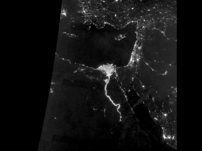 A NASA Earth Observatory image shows the area near the Nile River valley and delta on the night of October. The image was acquired by the Visible Infrared Imaging Radiometer Suite (VIIRS) on the Suomi NPP satellite. This image was acquired near the time of the new Moon, and little moonlight was available to brighten land and water surfaces. (Reuters/ NASA)