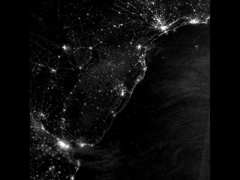 A NASA Earth Observatory image shows part of the Atlantic coast of South America on the night of June 20, 2012. The image was acquired by the Visible Infrared Imaging Radiometer Suite (VIIRS) on the Suomi NPP satellite. (Reuters/ NASA)
