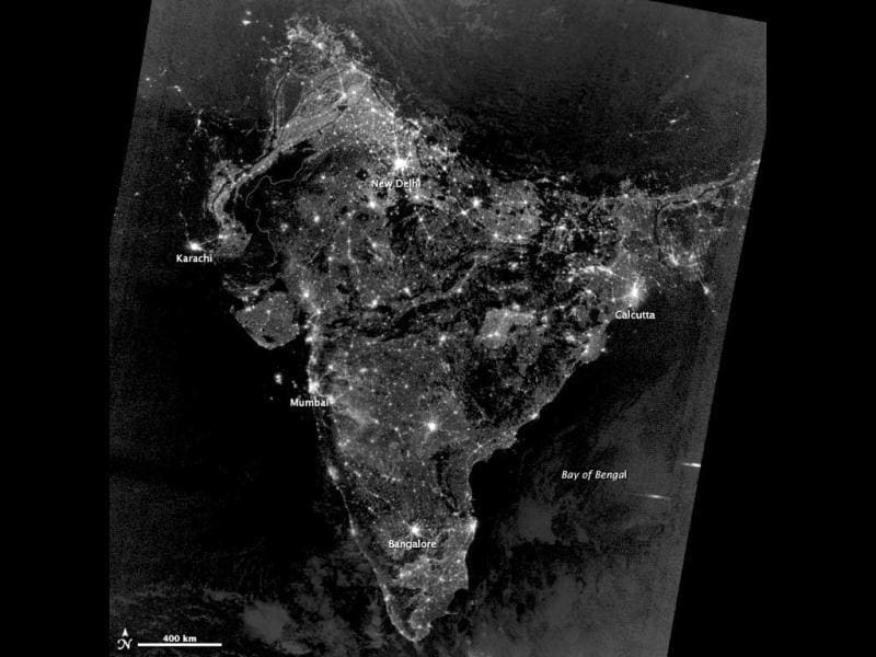 A NASA Earth Observatory image shows a black and white satellite imagery of India on Diwali night. NASA said most of the bright areas in the imagery released by it are cities and towns in India, the country with the world's largest Hindu population. (NASA photo)