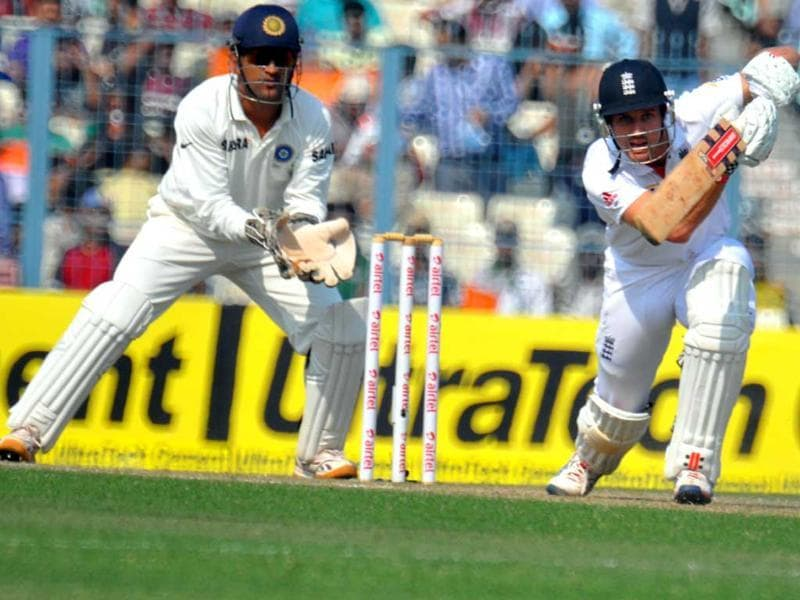 England batsman Nick Compton hits a shot during Day 2 of the 3rd India-England Cricket Test at Eden Gardens in Kolkata . Agencies