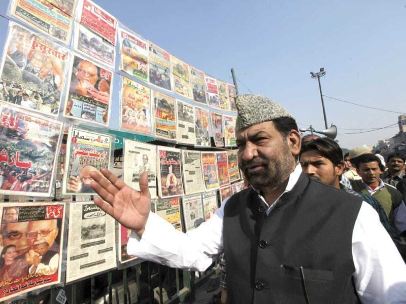 Newspaper and magazine clippings which were published during the Babri Masjid demoliton are displayed in front of Jama Masjid, New Delhi during a protest to mark the demolition of the 16th century Babri Mosque in Ayodhya . HT Photo/Virendra Singh Gosain