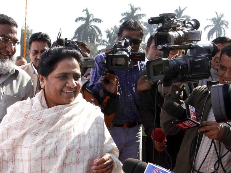 BSP chief Mayawati is seen at Parliament House in New Delhi. HT/Sanjeev Verma