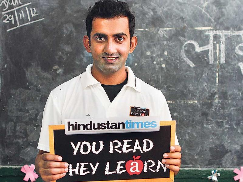 Gautam Gambhir supports HT's You Read, They Learn initiative.