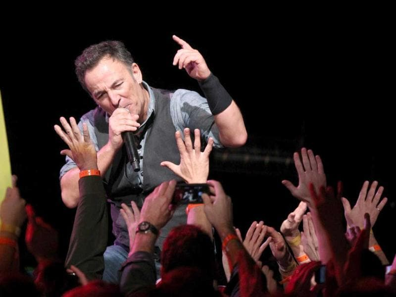 Bruce Springsteen performs his song