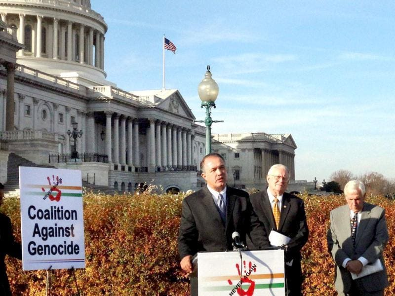 US Congressmen (L-R) Trent Franks, Joe Pitts and Frank Wolf, addressing a news conference urged the Obama Administration to continue the US government's policy to deny US visa to the Gujarat chief minister Narendra Modi at the Capitol Hill in Washington. PTI Photo