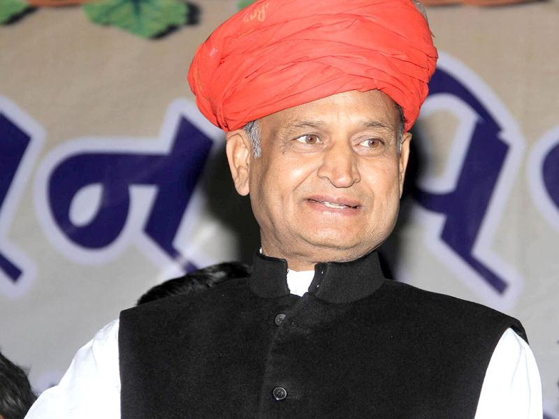 Rajasthan chief minister Ashok Gahelot addressing election rally in Ahmedabad. (UNI Photo)