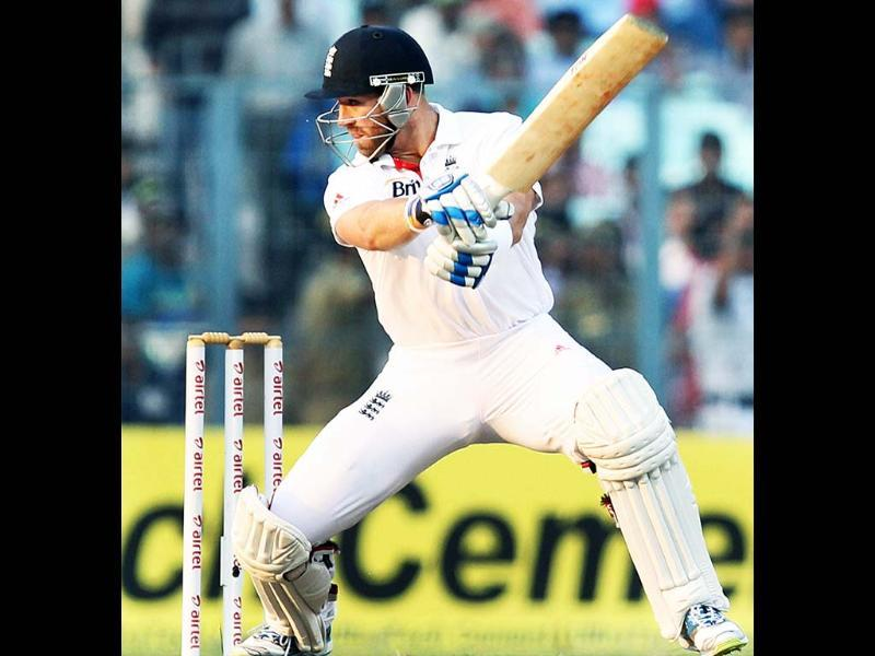 England's Matt Prior plays a shot during Day 3 of the 3rd cricket Test Match against India at Eden Garden in Kolkata. PTI