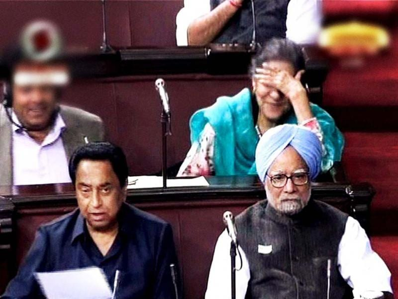 Prime Minister Manmohan Singh and parliamentary affairs minister Kamal Nath during the debate on FDI in Rajya Sabha in New Delhi. PTI/TV grab