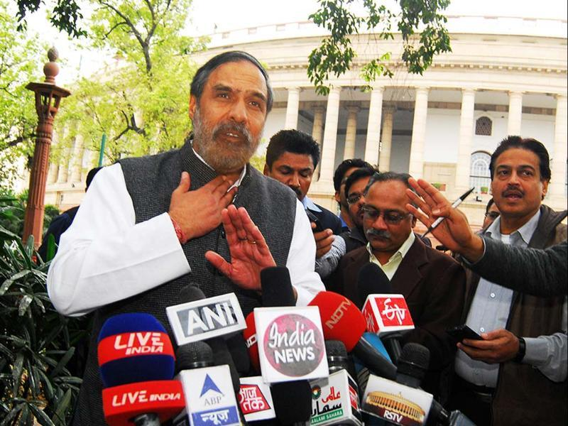 Union commerce and industry minister Anand Sharma talking to reporters at Parliament house just after the voting in Rajya Sabha on FDI in retail in New Delhi. UNI