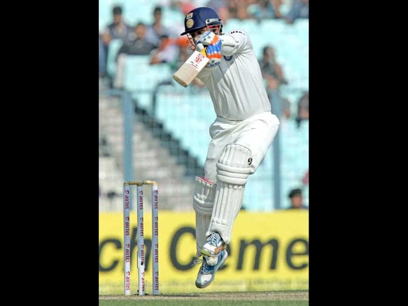 Virender Sehwag plays a shot during Day 4 of the 3rd Test Match against England at Eden Garden in Kolkata. PTI Photo