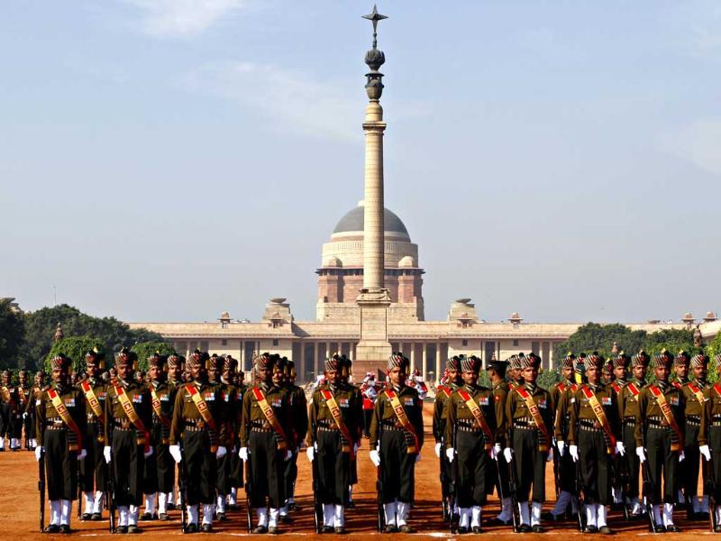 The Change of Guard ceremony at Rashtrapati Bhawan in New Delhi. (HT Photo)