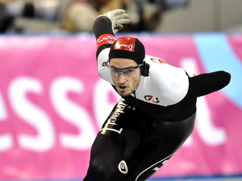 Canada's Tyler Derraught competes in the men's 1,000 meters competition at the World Cup speed skating event at the Nagano M-Wave ice arena. Derraught placed fourth with a time of 1:09.98. AFP photo