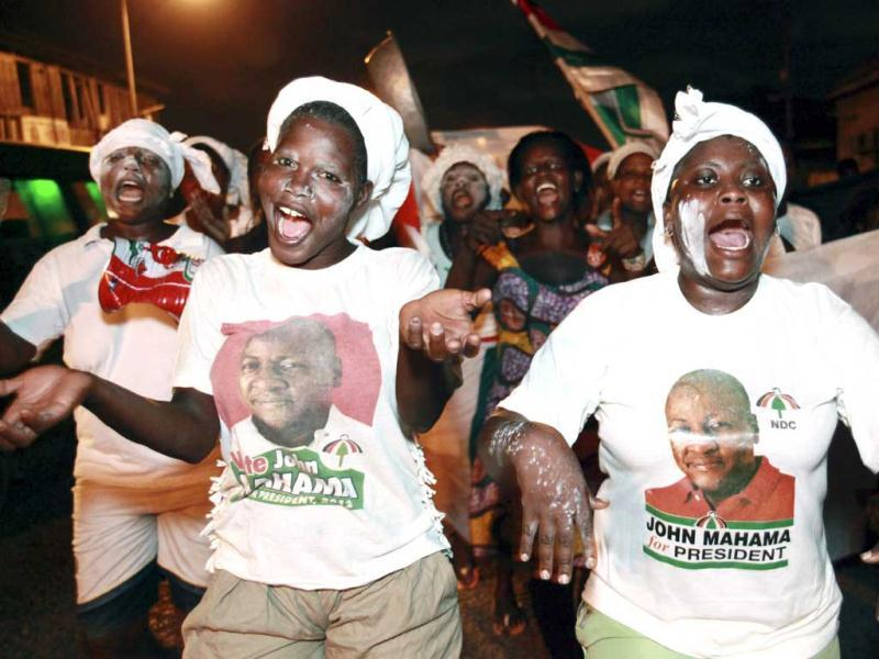 Supporters of President John Dramani Mahama celebrate in the streets after he was declared the winner of Ghana's presidential election, in Accra, Ghana. AP Photo