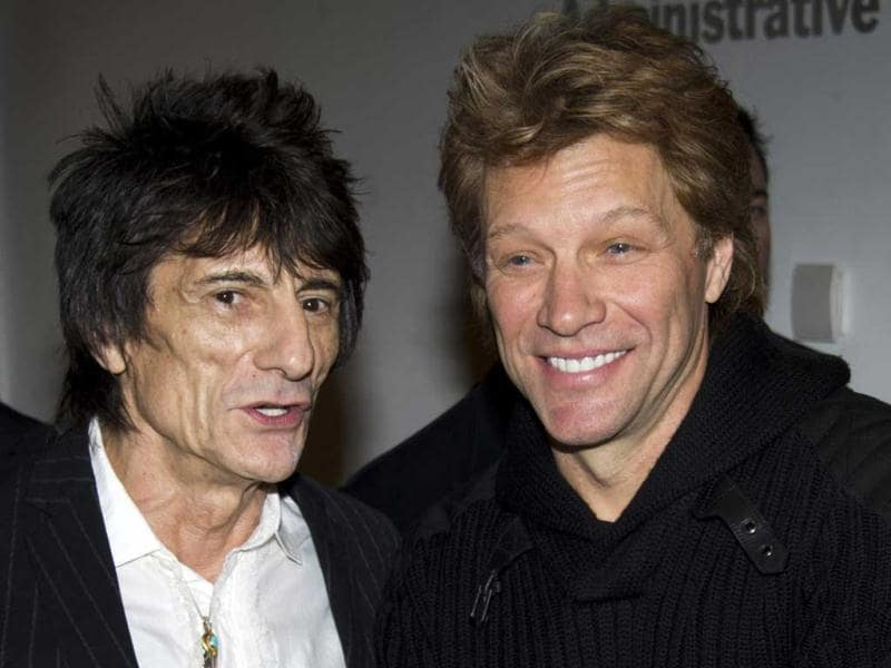 Ronnie Wood and Jon Bon Jovi attend the premiere of Stand Up Guys hosted by The Cinema Society and Chrysler in New York. AP Photo