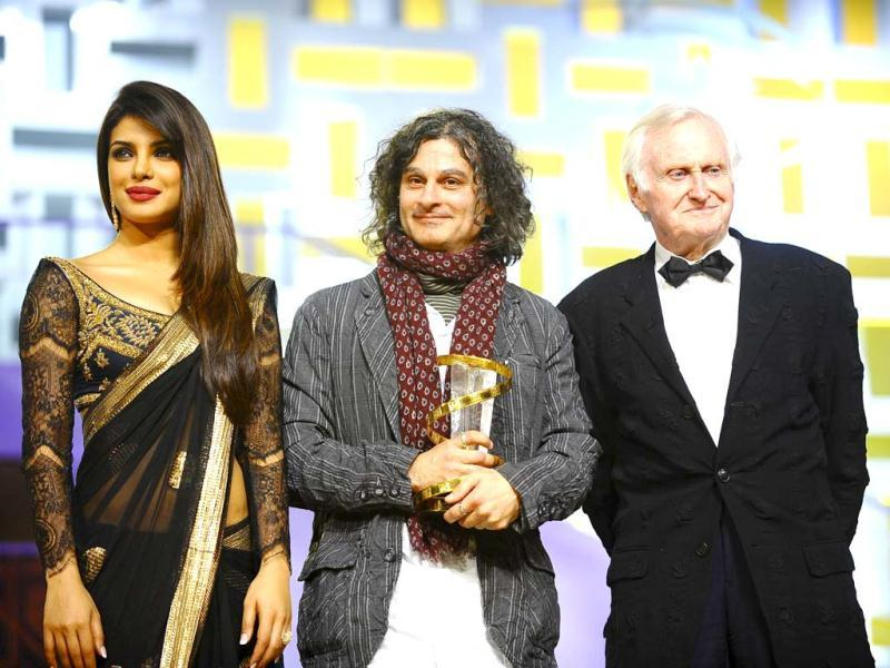 Priyanka Chopra, Ziad Doueiri and John Boorman pose together. (Photo/Reuters)
