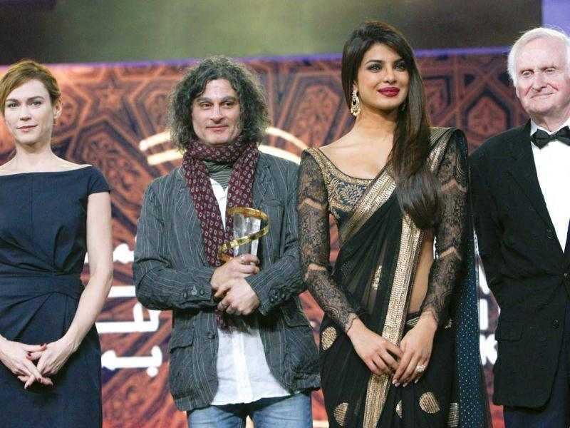 From left to right, Canadian actress and jury member Marie Josée, Lebanese director Ziad Doueiri, Bollywood actress Priyanka Chopra and jury president and British film director John Boorman. (Photo/AP)