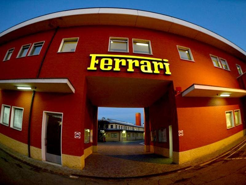 This picture shows the entrance of the Ferrari factory in Maranello. The Ferrari 45 buildings's factory, where more than 3,000 workers produce the company's GT and Formula 1 cars is based in Maranello. AFP Photo
