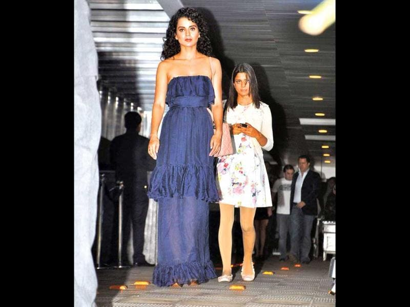 Actress Kangna Ranaut was also seen at the party in a sheer blue gown.