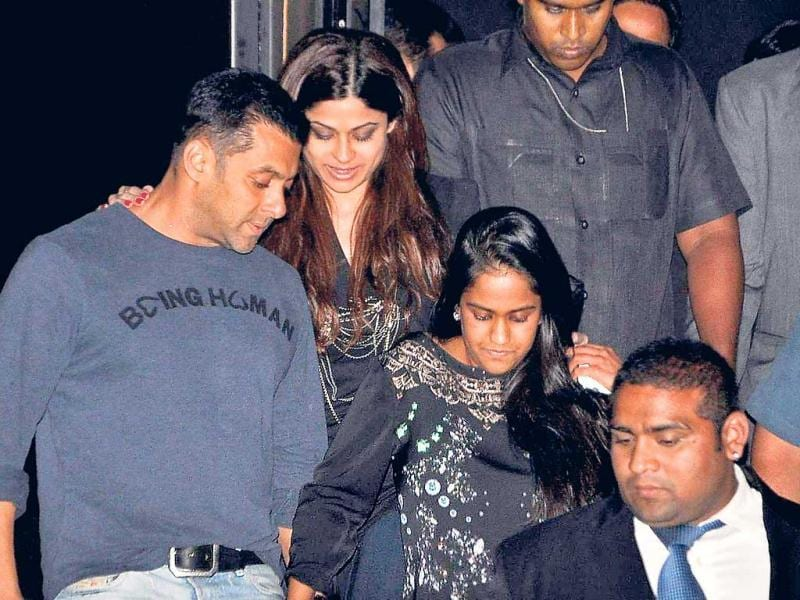 Salman Khan, who had organised the party at Royalty, was seen with Shamita Shetty and his sister Arpita.