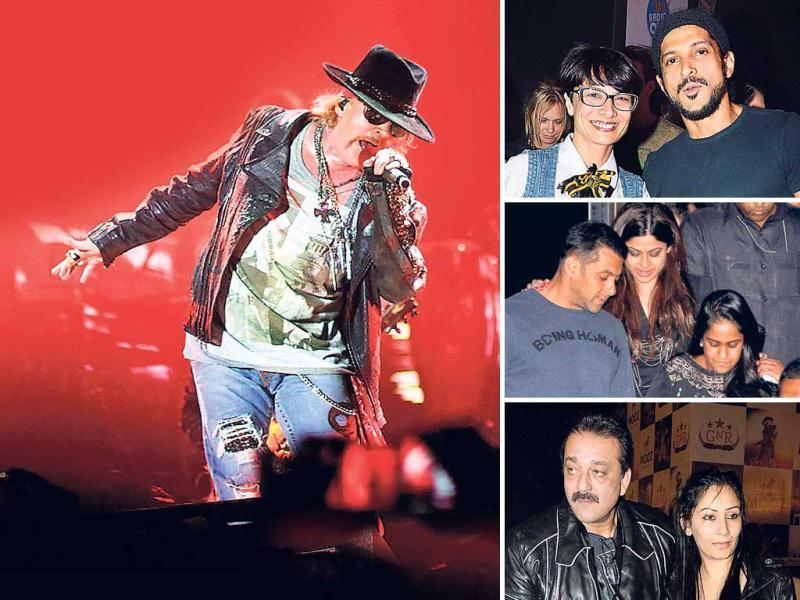 Guns N' Roses performed in Mumbai recently and after rocking the city, the members of the band were seen chilling and partying at Royal nightclub with Salman Khan and his gang till the wee hours of the morning. Take a look.