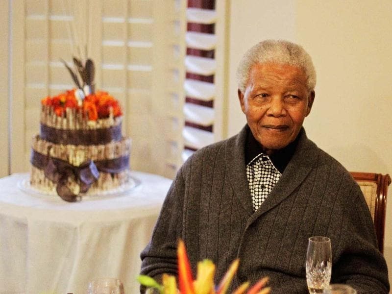 File photo: Former South African president Nelson Mandela celebrates his birthday with family in Qunu, South Africa. AP photo