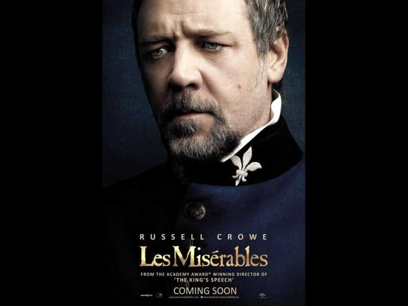 Russell Crowe plays the role of the ruthless policeman Javert in Les Miserables.