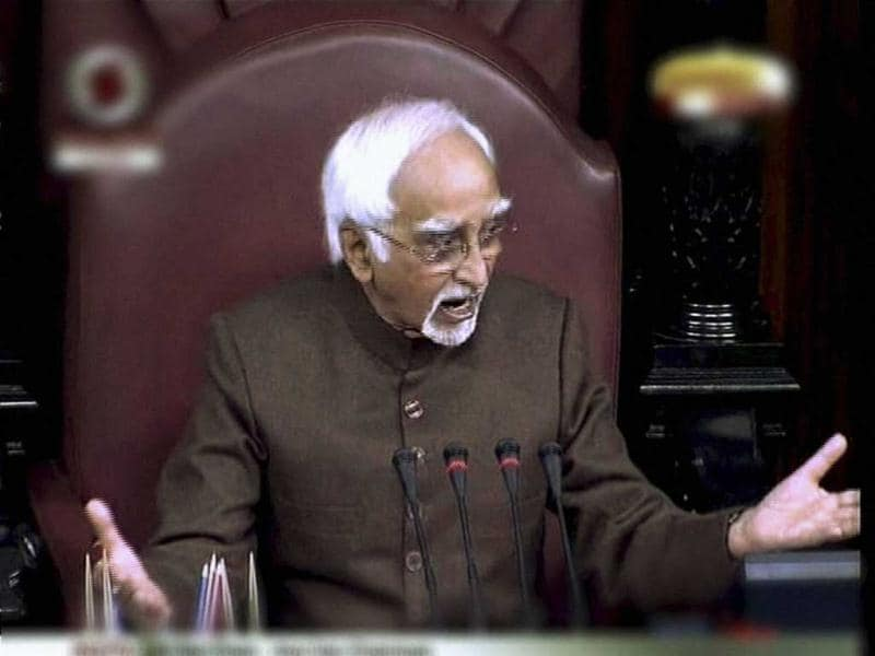 Rajya Sabha Chairman Hamid Ansari asking members in the Rajya Sabha to allow the House to function. Following frequent disruptions by the Opposition members over Walmart lobbying issue, Ansari proposed to reschedule question hour or