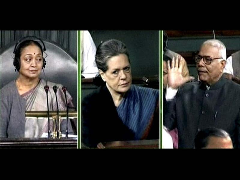 Speaker Meira Kumar, Congress president Sonia Gandhi and BJP leader Yashwant Sinha in Lok Sabha during the Winter Session. Sinha raised the Walmart lobbying issue in the Parliament and demande that the probe's disclosures should be made public. (PTI Photo)