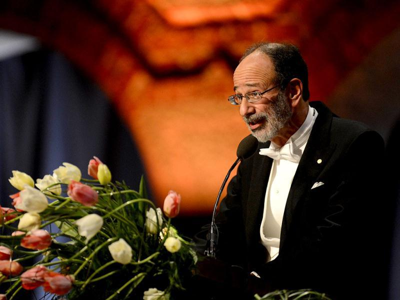 The 2012 Nobel Economic Sciences Prize winner US Alvin E Roth delivers a speech during the Nobel Banquet, a traditional dinner, after the Nobel Prize awarding ceremony at the Stockholm City Hall. AFP PHOTO/JONATHAN NACKSTRAND