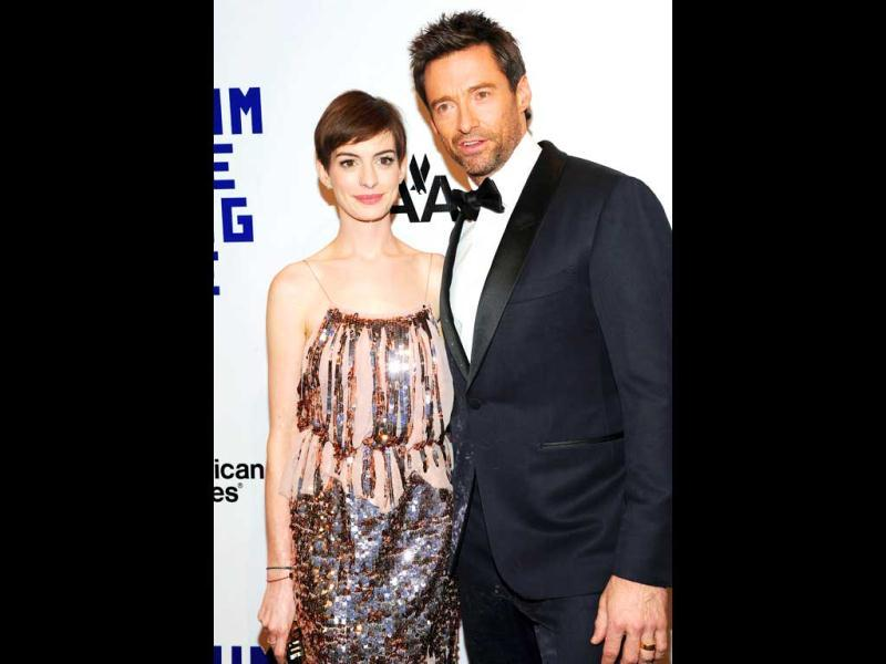 Actress Anne Hathaway, left, and honoree Hugh Jackman attend the Museum of the Moving Image Salute to Hugh Jackman at Cipriani Wall Street New York. (AP Photo)
