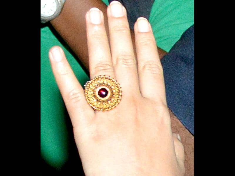 Vidya Balan was seen flaunting a gold and ruby ring, possibly her engagement one.