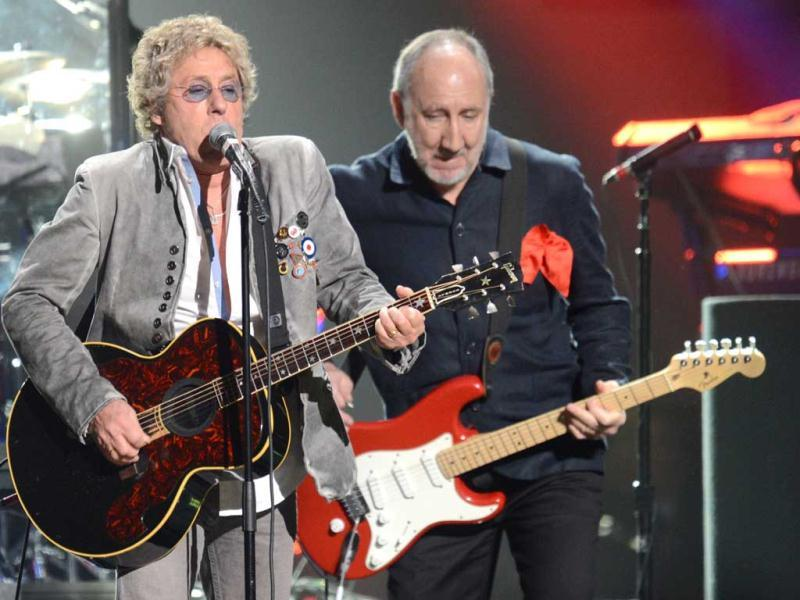 Roger Daltrey (L) and Pete Townshend (R) of The Who perform during