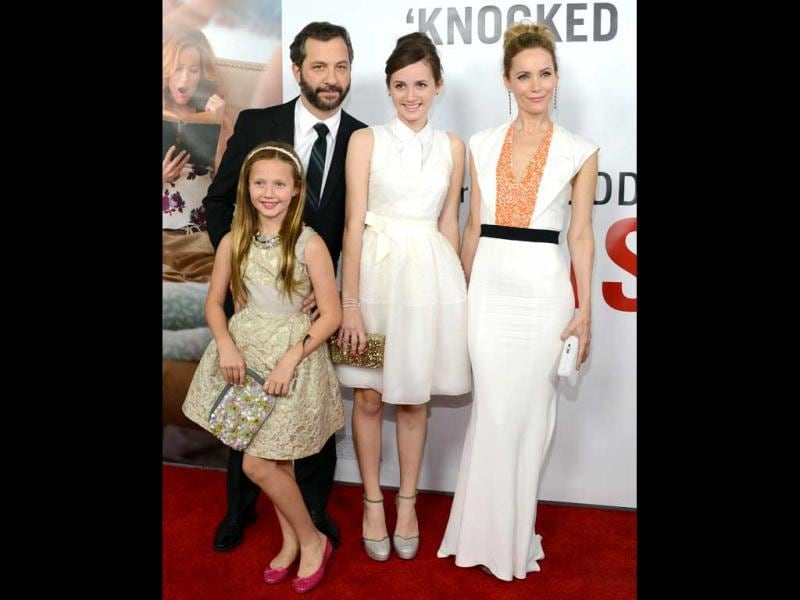 Judd Apatow arrives with his family, from left, Iris Apatow, Maude Apatow and Leslie Man at the premiere of 'This Is 40' at Grauman's Chinese Theatre in Los Angeles. AP