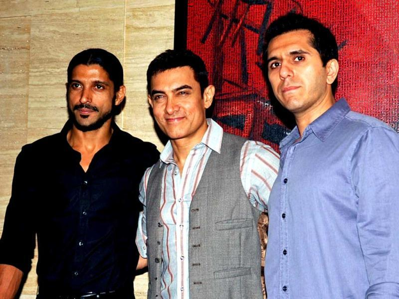Actor and producers: Talaash actor Aamir Khan (centre) poses with the film's producers Farhan Akhtar (left) and Riteish Sidhwani
