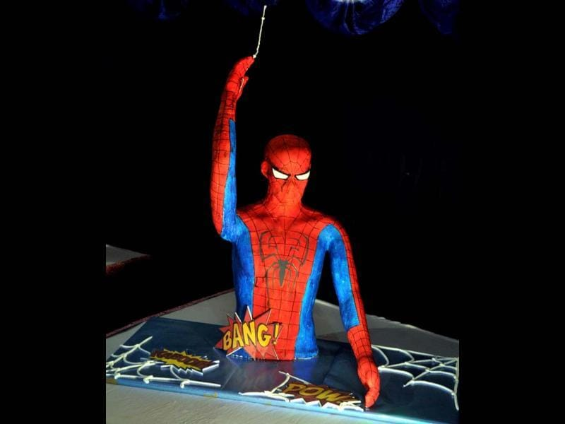 Model of Popping out Spiderman made by Nilgiri's bakery on display at the 38th Annual Cake Exhibition held as a part of Christmas and New Year celebrations in Bangalore. UNI