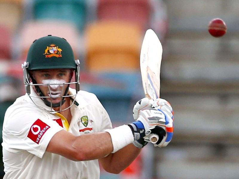 Australia's Michael Hussey prepares to play a hook shot during the second day of play in the first test cricket match against Sri Lanka at Bellerive Oval in Hobart. (Reuters/ UNI Photo)