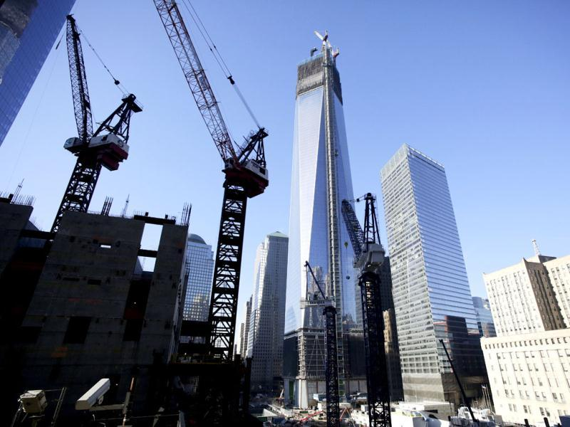 Construction continues on 1 World Trade Center (C), and 3 World Trade Center (L), in New York. (AP Photo)