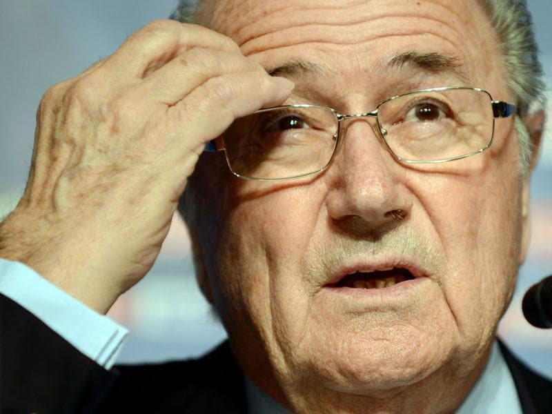FIFA president Joseph Blatter answers questions during a press conference in Tokyo one day before the 2012 Club World Cup final match. (AFP Photo)