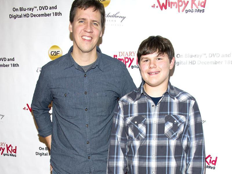 'Diary of A Wimpy Kid' author Jeff Kinney, left, and actor Robert Capron pose on the red carpet to celebrate the