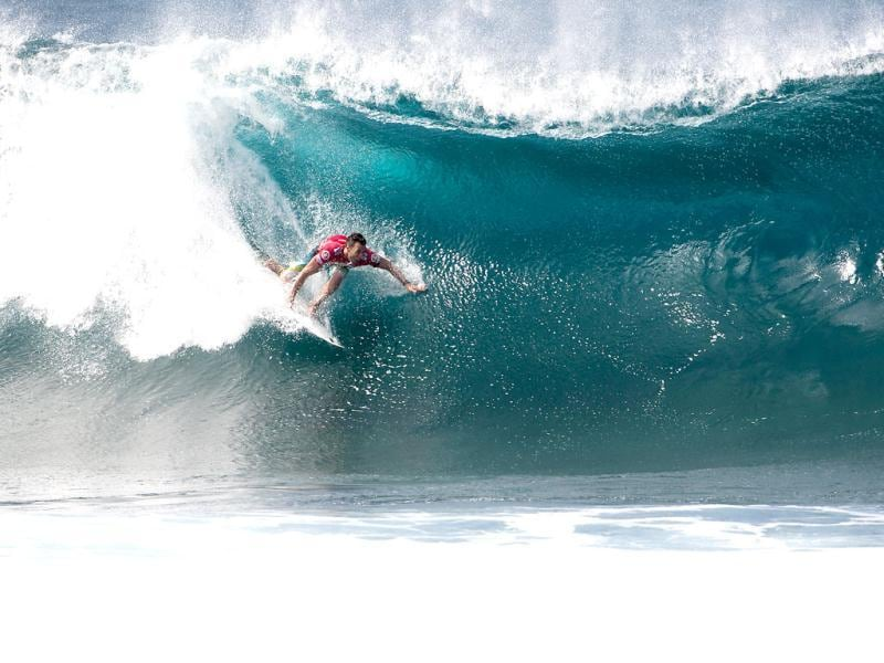 Joel Parkinson of Coolangatta, Australia, competes and win his maiden ASP World Title overcoming his closest rival and ASP World No. 2 Kelly Slater (USA) by advancing into the final at the Billabong Pipe Masters on Oahu, Hawaii. (AP Photo)