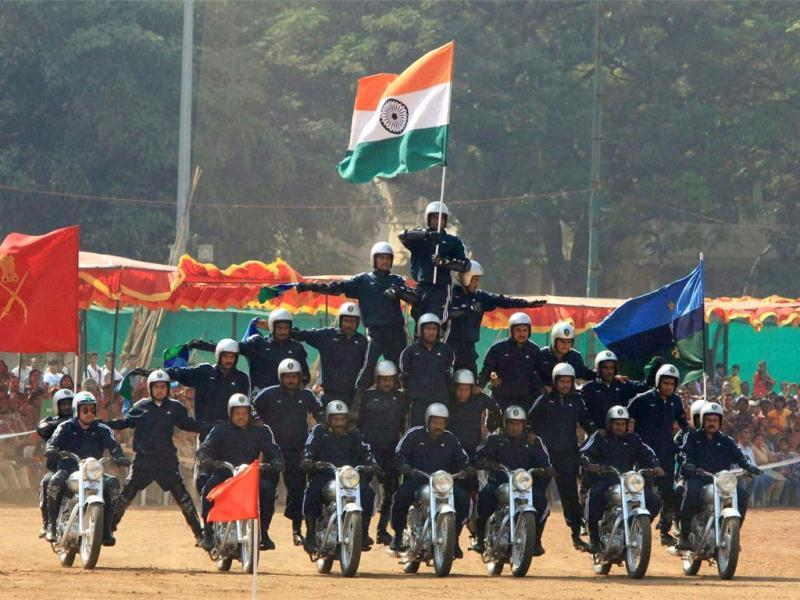 "Indian navy personnel perform a drill during a rehearsal for ""Vijay Diwas"" or Victory Day celebrations in Mumbai. The Indian Army celebrates Victory Day to commemorate its military victory over Pakistan in 1971. (AP Photo/Rajanish Kakade)"
