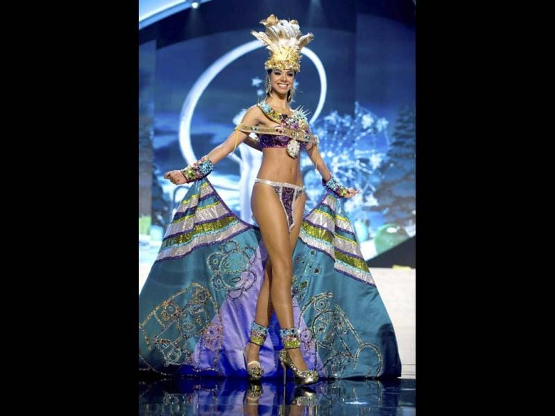 Miss Puerto Rico Bodine Koehler parades proudly in her national costume at the 2012 Miss Universe National Costume Show in Las Vegas. (Reuters)