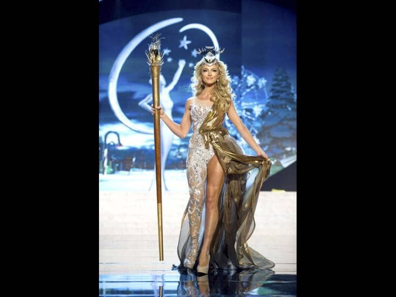 Miss South Africa Melinda Bam performs onstage at the 2012 Miss Universe National Costume Show at PH Live in Las Vegas. The 89 Miss Universe Contestants will compete for the Diamond Nexus Crown on December 19. (Reuters)